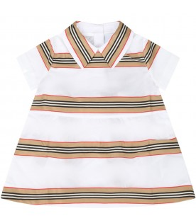 White dress for babygirl with iconic stripes