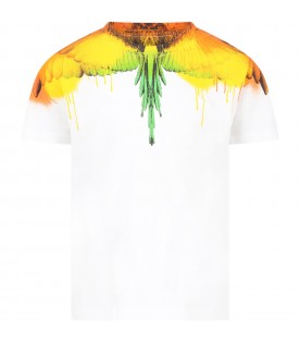 White t-shirt for kids with colorful wings