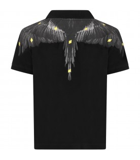 Black polo shirt for boy with iconic wings
