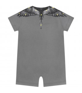 Grey romper for babyboy with wings