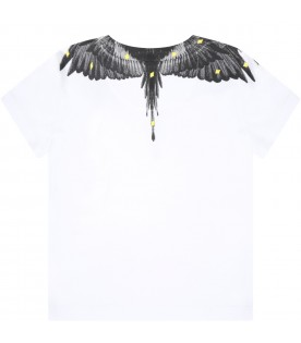 White t-shirt for babyboy with wings