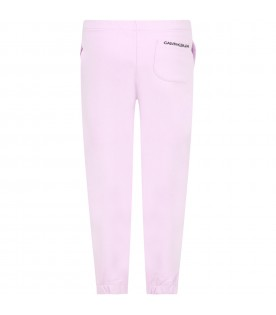 Lilac sweatpants for girl with logo