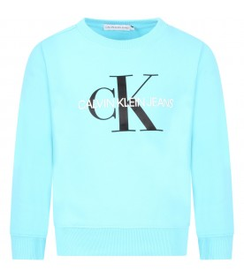 Light blue sweatshirt for kids with double logo