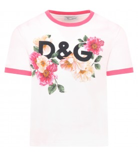Pink t-shirt for girl with camellias