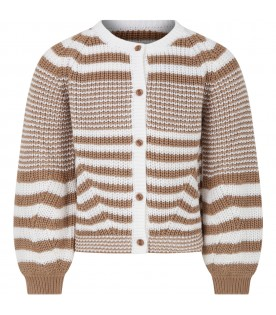 Multicolor cardigan for girl with stripes