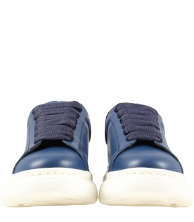 Blue sneakers for kids with logo