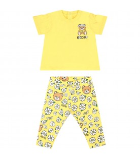 Yellow suit for babygirl with flowers
