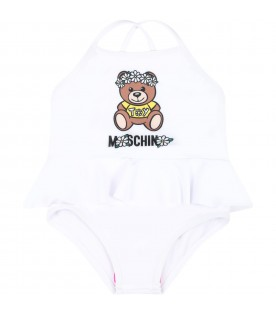 White swimsuit for babygirl with teddy bear