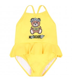 Yellow swimsuit for babygirl with teddy bear