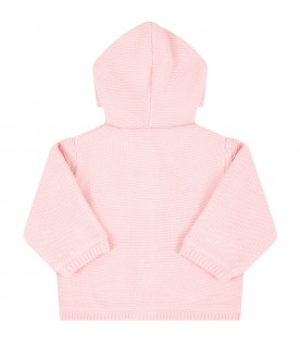 Pink cardigan for babygirl with teddy bear