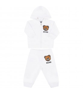 White tracksuit for babykids with teddy bear
