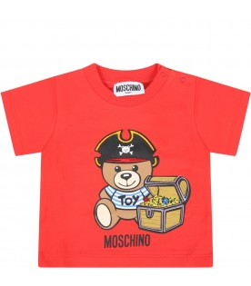 Red t-shirt for babyboy with logo