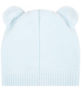 Light blue hat for babyboy with teddy bear