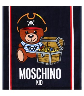 Blue beach towel for kids with logo