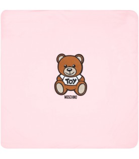 Pink blanket for babygirl with teddy bear