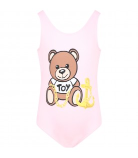 Pink swimsuit for girl with teddy bear