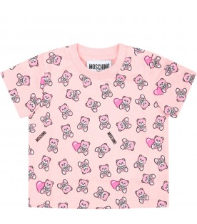 Pink T-shirt for babygirl with teddy bears