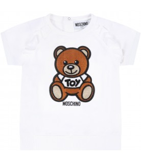 White dress for babygirl with teddy bear