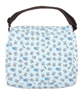 Light blue changing bag for babyboy with teddy bears