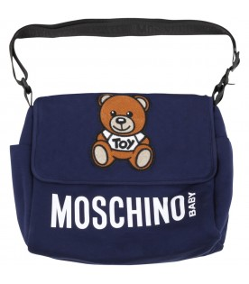 Blue changing bag for babykids with teddy bear