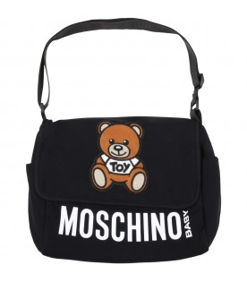 Black changing bag for babykids with teddy bear