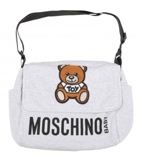 Grey changing bag for babykids with teddy bear