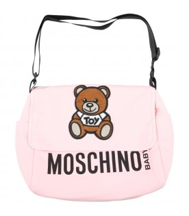 Pink changing bag for babygirl with teddy bear