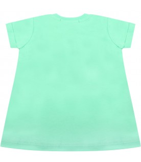 Mint green dress for babygirl with logo
