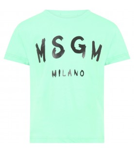 Mint green t-shirt for kids with logo