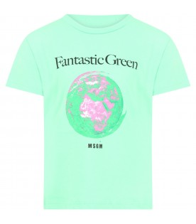Mint green t-shirt for kids with planet