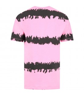 Pink dress for girl with logo