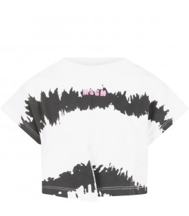 White t-shirt for girl with pink logo