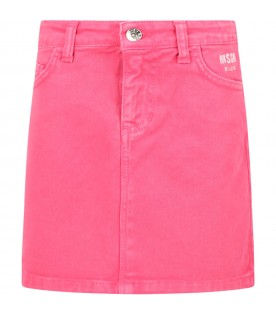 Pink skirt for girl with logo