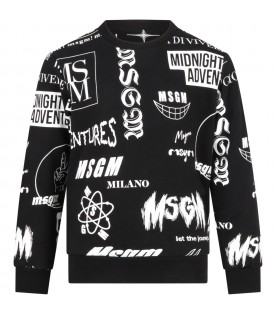 Black sweatshirt for boy with logos