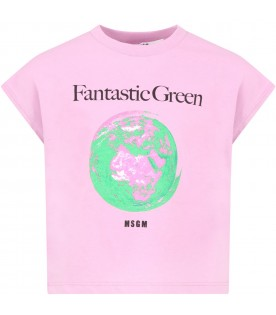 Lilac t-shirt for girl with planet