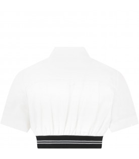 White shirt for girl with logo
