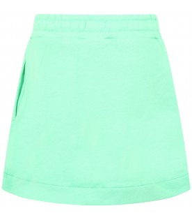 Mint green skirt for girl with logo