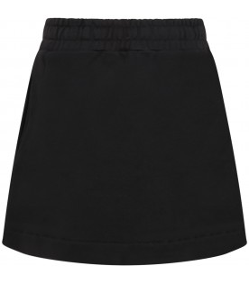 Black skirt for girl with logo