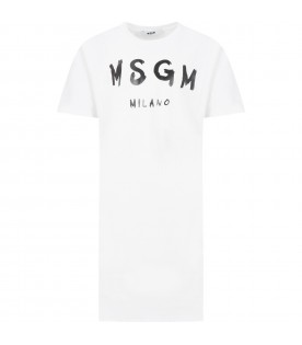 White dress for girl with logo