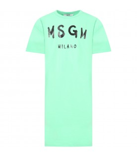 Mint green dress for girl with logo