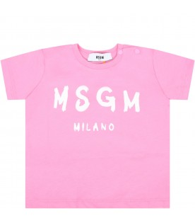 Pink t-shirt for babygirl with logo