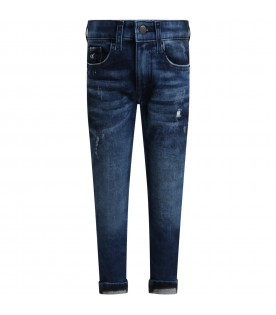 Blue jeans for boy with logo