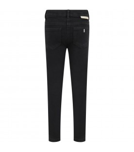 Black jeans for girl with logo