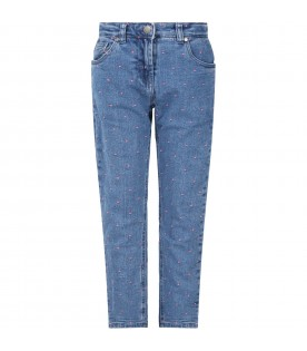 Blue jeans for girl with polka-dots