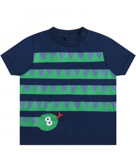 Blue t-shirt for babyboy with snake