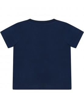 Blue t-shirt for babyboy with cloud