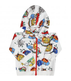White sweatshirt for babyboy with colorful prints