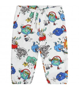 White sweatpant for babyboy with prints