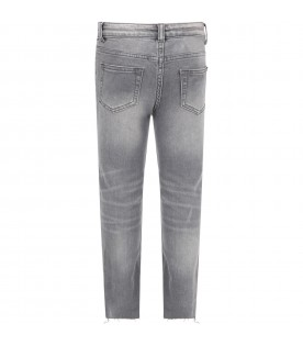 Grey jeans for girl with logo