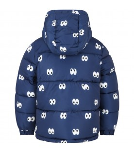 Blue jacket for kids with eyes